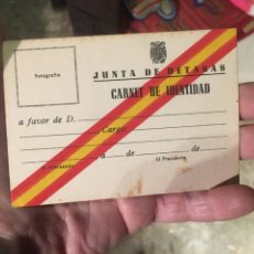 Documentos antiguos: CARNET DE IDENTIDAD JUNTA DE DETASAS. Lote 184194893