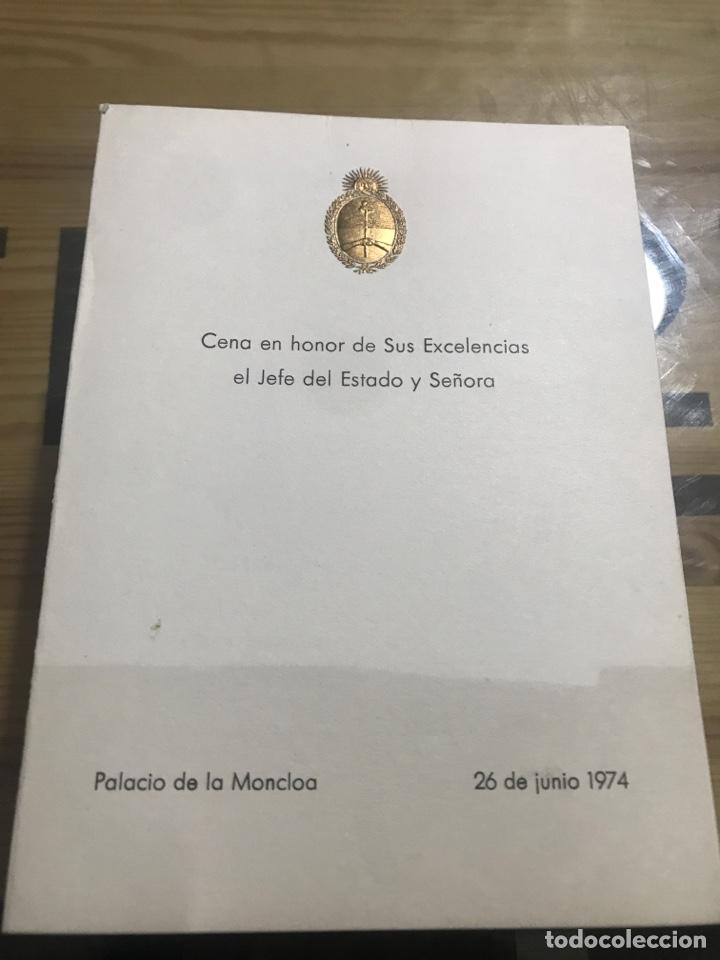 CENA EN HONOR DE SUS EXCELENCIAS EL JEFE DE ESTADO Y SEÑORA (Coleccionismo - Documentos - Otros documentos)