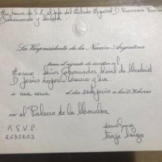 Documentos antiguos: SU VICEPRESIDENTE DE LA NACIÓN ARGENTINA TIENE EL AGRADO DE INVITAR A.... Lote 184468616