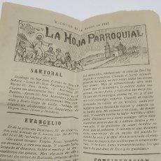 Documentos antiguos: HOJA PARROQUIAL DE MONÓVAR (ALICANTE) -- 19 DE MARZO DE 1933. Lote 184507112