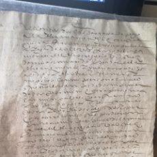 Documentos antiguos: DOS FOLIOS DE DOCUMENTOS MANUSCRITOS PROBABLEMENTE MEDIEVALES DESCONOZCO EL TEMA TRATADO. Lote 184761253