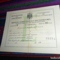 Documentos antiguos: TARJETA IMPUESTO SOBRE CERILLAS Y ENCENDEDORES SIN FECHA Y SELLADO. MINISTERIO DE HACIENDA. AÑOS 60.. Lote 184761747