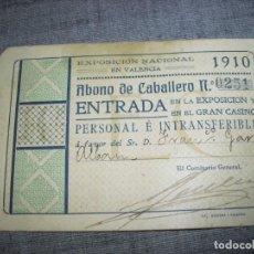Documentos antigos: CARNET O PASE EXPOSICION NACIONAL DE 1910 EN VALENCIA CON FOTO . Lote 184872667