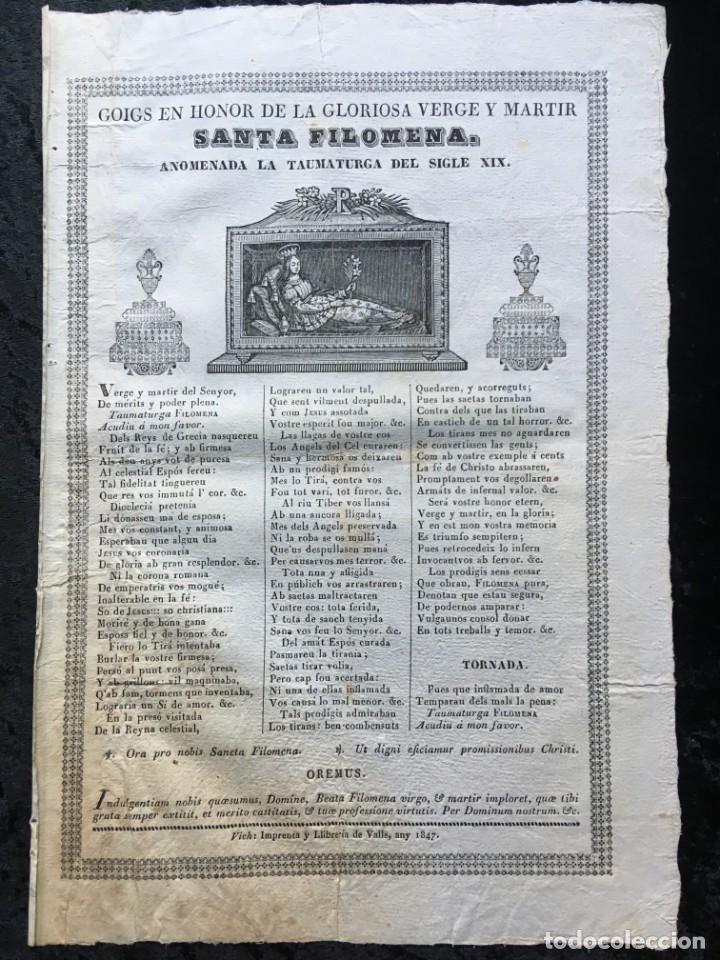 GOIGS VERGE Y MARTIR SANTA FILOMENA - VICH - 1847 (Coleccionismo - Documentos - Otros documentos)