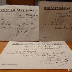 Documentos antiguos: VALLADOLID, RECIBOS DE SERENOS. AÑOS 50. MUY RAROS. ORIGINALES.. Lote 185753671