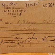 Documentos antiguos: VALLADOLID, FACTURA CARROS DE ALQUILER. MUY RARA. ORIGINAL. Lote 185753720