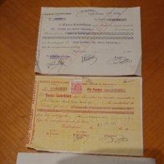 Documentos antiguos: VALLADOLID. BANCO CASTELLANO. LOTE TRES DOCUMENTOS ORIGINALES, RAROS. Lote 185754096