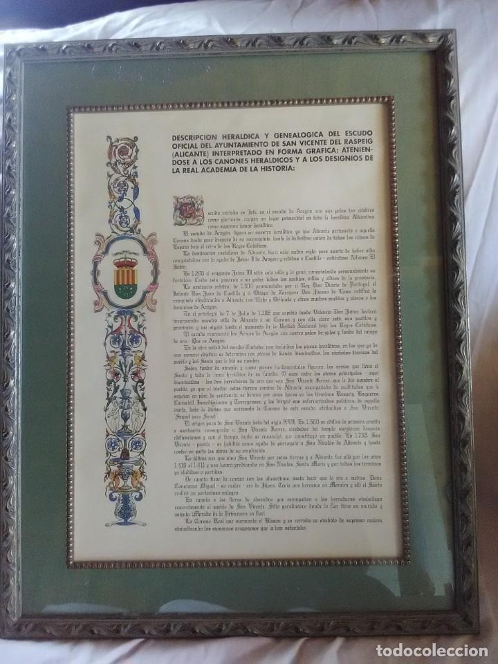 DESCRIPCIÓN HERÁLDICA Y GENEALOGÍCA DEL ESCUDO OFICIAL AYUNTAMIENTO DE S.VICEMTE DEL RASPEIG 1970 (Coleccionismo - Documentos - Otros documentos)