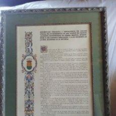 Documentos antiguos: DESCRIPCIÓN HERÁLDICA Y GENEALOGÍCA DEL ESCUDO OFICIAL AYUNTAMIENTO DE S.VICEMTE DEL RASPEIG 1970. Lote 185969697