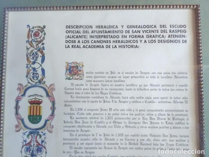 Documentos antiguos: descripción Heráldica y genealogíca del escudo oficial Ayuntamiento de S.vicemte del Raspeig 1970 - Foto 2 - 185969697