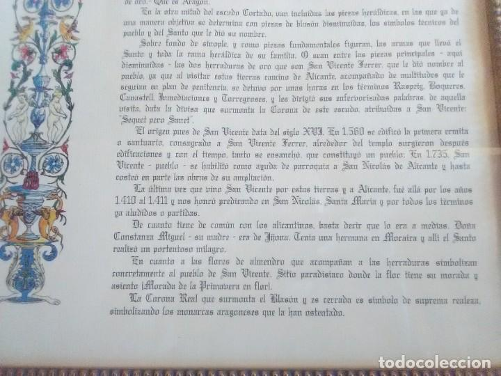 Documentos antiguos: descripción Heráldica y genealogíca del escudo oficial Ayuntamiento de S.vicemte del Raspeig 1970 - Foto 5 - 185969697