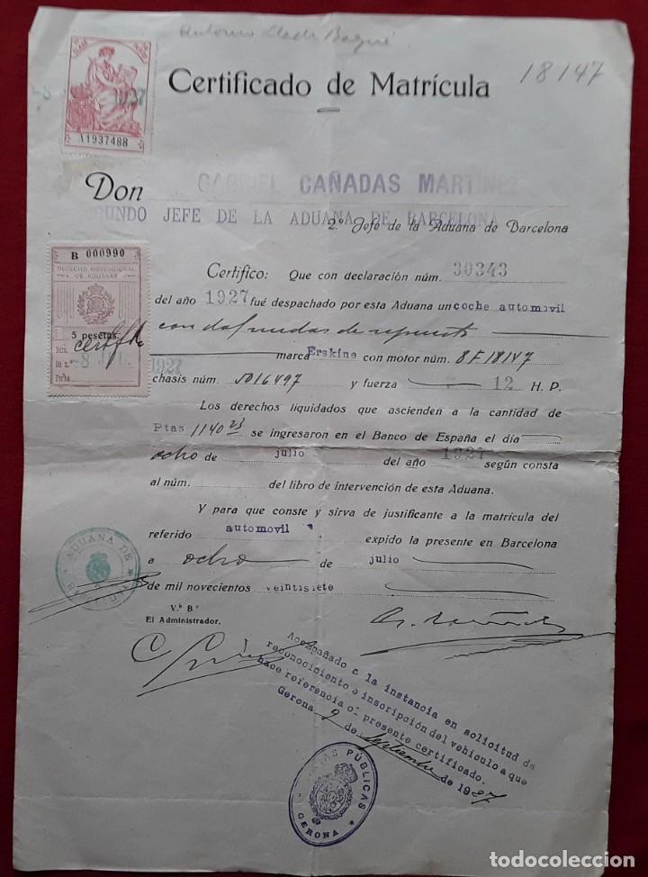 Documentos antiguos: Lote completo papeles compra coche importación ESTUDEBAKER ( Erskine). 1927 - Foto 2 - 185986796