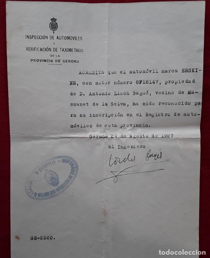 Documentos antiguos: Lote completo papeles compra coche importación ESTUDEBAKER ( Erskine). 1927 - Foto 6 - 185986796