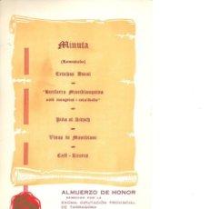Documentos antiguos: ALMUERZO DE HONOR DIPUTACIÓN TARRAGONA IV CONGRESO ARQUITECTURA REGIONAL MONTBLANC TARRAGONA 1968. Lote 186008206