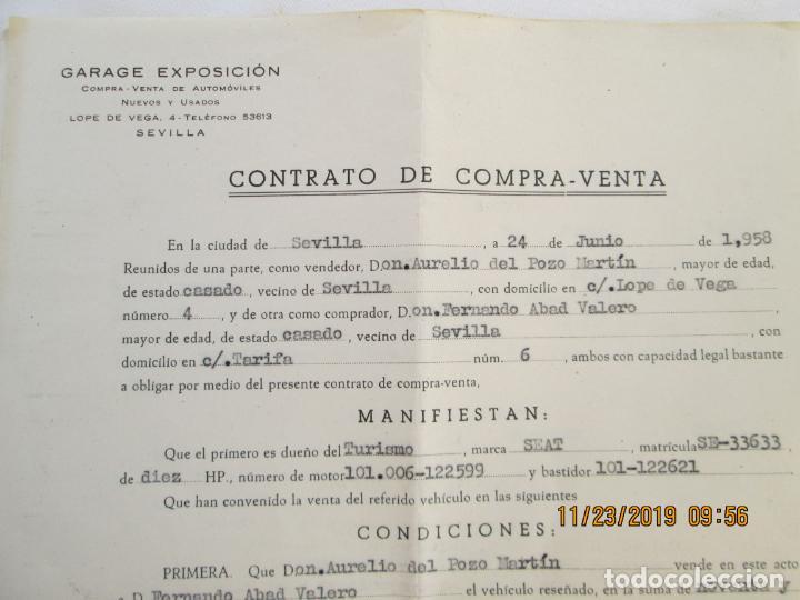 CONTRATO DE COMPRA-VENTA DE VEHÍCULO - CITROEN SS11664 - SEVILLA 1958. (Coleccionismo - Documentos - Otros documentos)