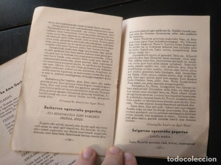 Documentos antiguos: Euskera Vascuence 1950 díptico y folleto dedicado a la virgen de Urrategi Azkoitia Azcoitia - Foto 2 - 186123547
