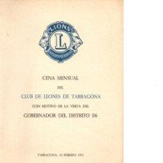 Documentos antiguos: LIONS INTERNACIONAL CLUB LEONES DE TARRAGONA 1971. Lote 186161026