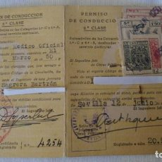 Documentos antiguos: ANTIGUO CARNET DE CONDUCIR 2ª CLASE 1950. Lote 186172695