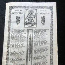 Documentos antiguos: GOIGS DEL GLORIOS SANT ISIDRO LLAURADOR - PAU ROCA - MANRESA - 1847 - RARO. Lote 186183412