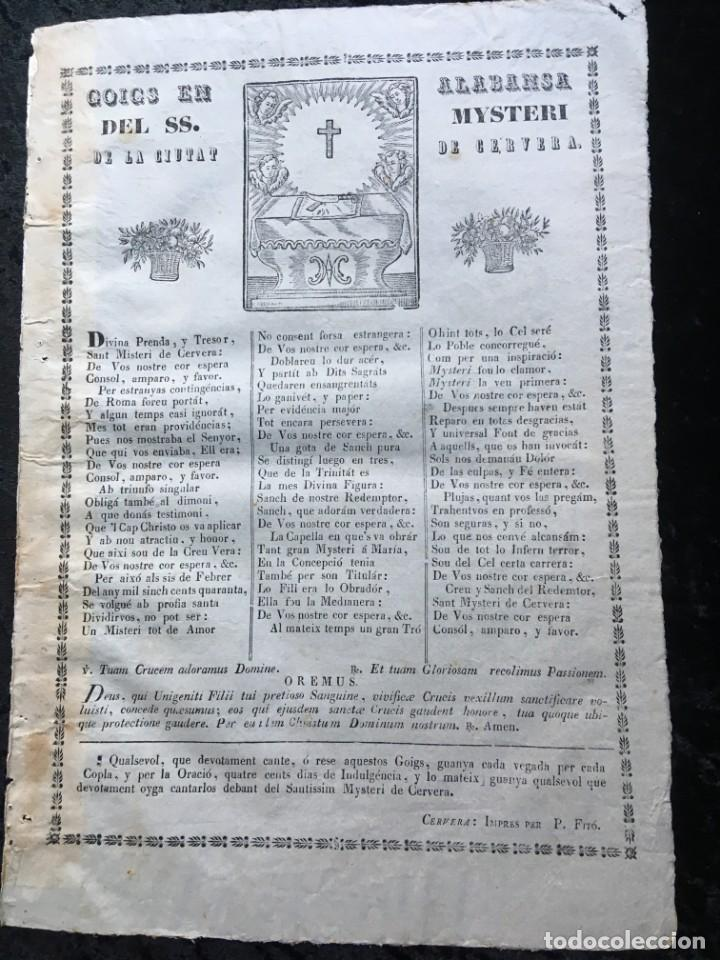 GOIGS EN ALABANSA DEL SS. MYSTERI DE LA CIUTAT DE CERVERA - (Coleccionismo - Documentos - Otros documentos)