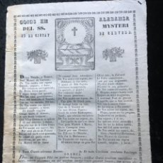Documentos antiguos: GOIGS EN ALABANSA DEL SS. MYSTERI DE LA CIUTAT DE CERVERA - . Lote 186220782