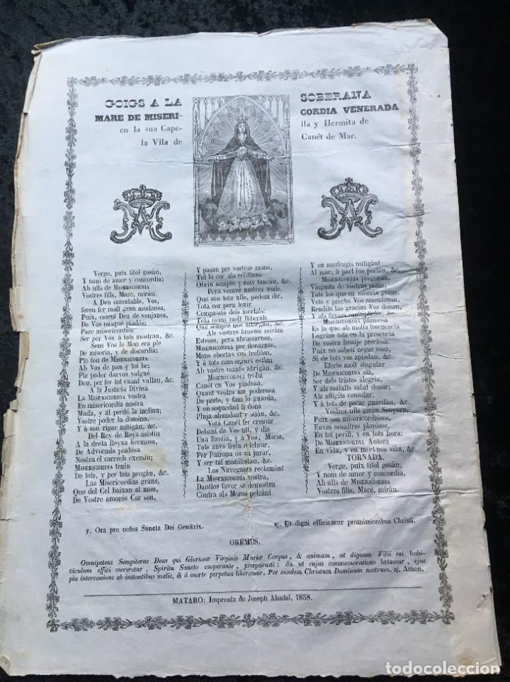 GOIGS MARE DE MISERICORDIA CAPELLA Y HERMITA DE LA VILA DE CANET DE MAR - 1858 - ABADAL - MATARÓ (Coleccionismo - Documentos - Otros documentos)