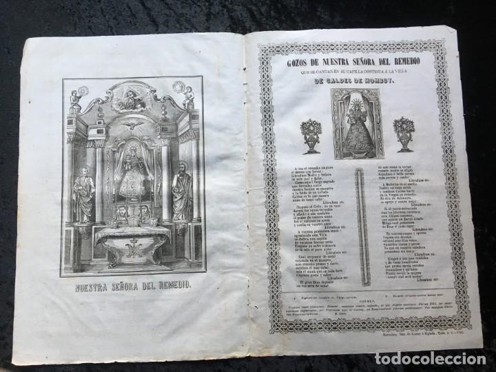 GOZOS SEÑORA DEL REMEDIO CALDES DE MOMBUY - 1863 - IMP. GOMEZ É INGLADA (Coleccionismo - Documentos - Otros documentos)