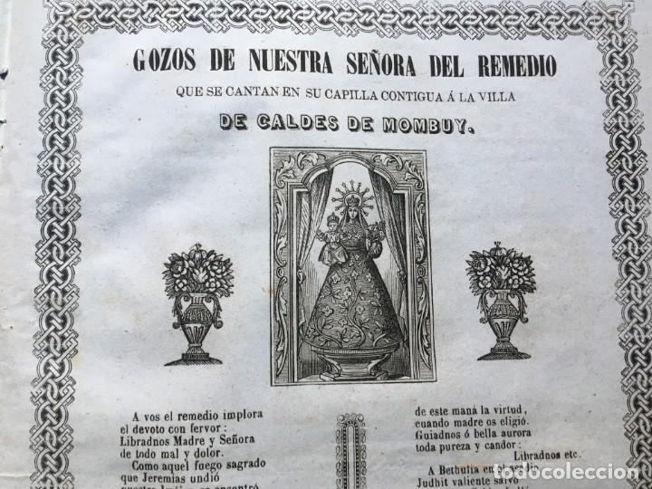 Documentos antiguos: GOZOS SEÑORA DEL REMEDIO CALDES DE MOMBUY - 1863 - Imp. Gomez é Inglada - Foto 3 - 186268598