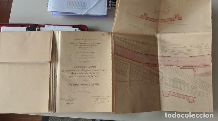 Documentos antiguos: 1925 MZA RED CATALANA - FERROCARRIL - ANTEPROYECTO PASO A NIVEL AVENIDA ICARIA - BARCELONA A MATARO - Foto 4 - 186310002
