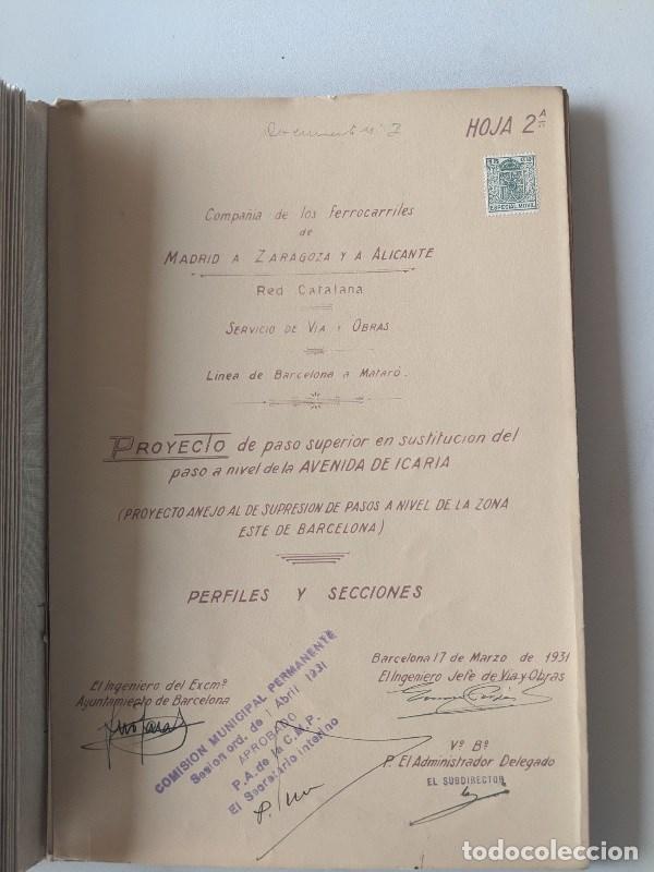 Documentos antiguos: 1925 MZA RED CATALANA - FERROCARRIL - ANTEPROYECTO PASO A NIVEL AVENIDA ICARIA - BARCELONA A MATARO - Foto 7 - 186310002