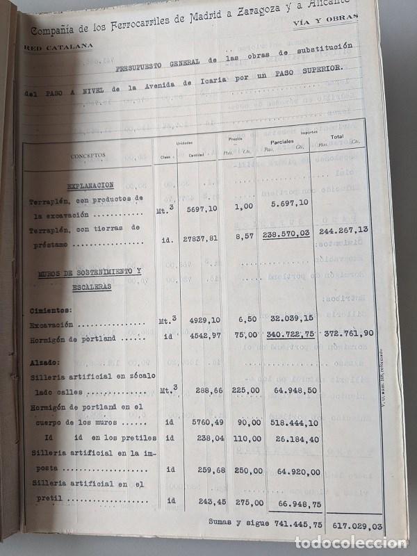 Documentos antiguos: 1925 MZA RED CATALANA - FERROCARRIL - ANTEPROYECTO PASO A NIVEL AVENIDA ICARIA - BARCELONA A MATARO - Foto 9 - 186310002