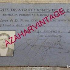 Documentos antiguos: SEVILLA, CARNET TRABAJADOR PARQUE DE ATRACCIONES EXPOSICION IBEROAMERICANA 1929, RARISIMO. Lote 186393783