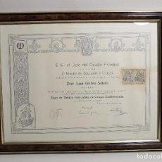 Documentos antiguos: TITULO ENMARCADO DE MEDICO ESPECIALISTA EN CIRUGIA CARDIOVASCULAR 1967--------REF-1AC. Lote 186453383