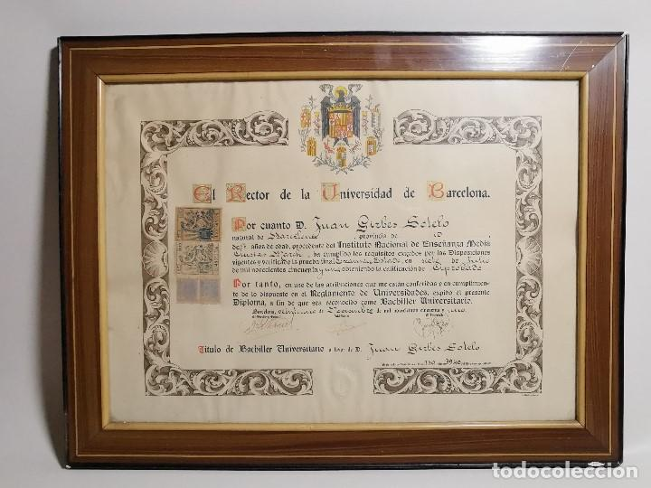 Documentos antiguos: TITULO ENMARCADO DE BACHILLER UNIVERSITARIO 1951 UNIVERSIDAD BARCELONA------REF-1AC - Foto 3 - 186453656