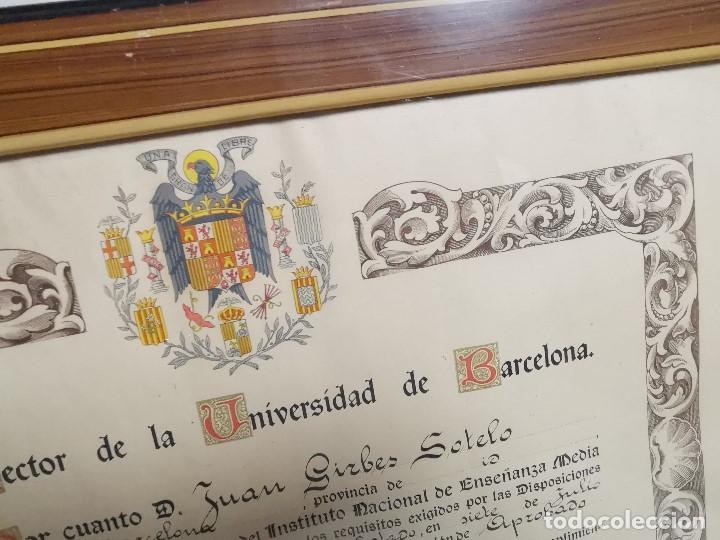 Documentos antiguos: TITULO ENMARCADO DE BACHILLER UNIVERSITARIO 1951 UNIVERSIDAD BARCELONA------REF-1AC - Foto 5 - 186453656