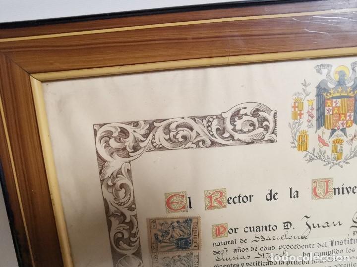 Documentos antiguos: TITULO ENMARCADO DE BACHILLER UNIVERSITARIO 1951 UNIVERSIDAD BARCELONA------REF-1AC - Foto 6 - 186453656