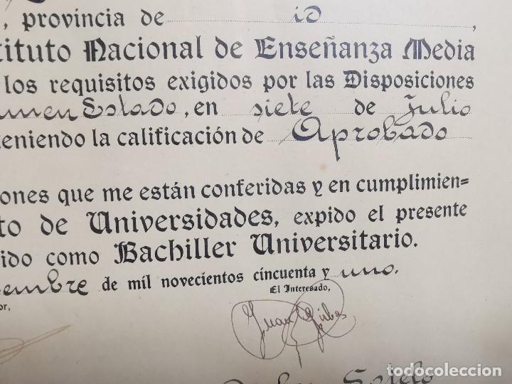 Documentos antiguos: TITULO ENMARCADO DE BACHILLER UNIVERSITARIO 1951 UNIVERSIDAD BARCELONA------REF-1AC - Foto 12 - 186453656