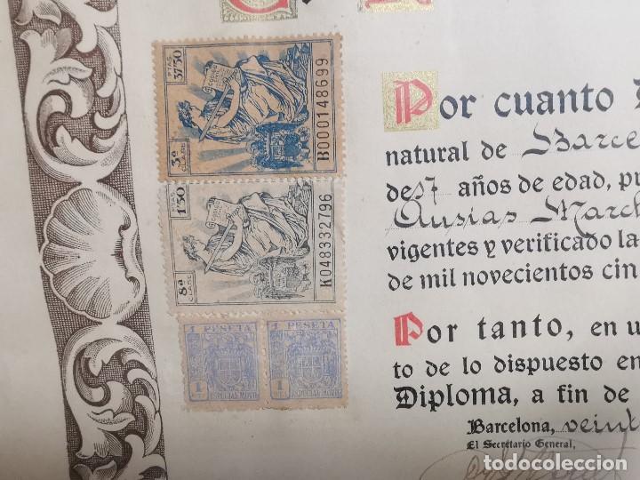 Documentos antiguos: TITULO ENMARCADO DE BACHILLER UNIVERSITARIO 1951 UNIVERSIDAD BARCELONA------REF-1AC - Foto 13 - 186453656