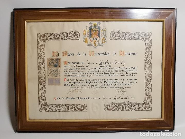 TITULO ENMARCADO DE BACHILLER UNIVERSITARIO 1951 UNIVERSIDAD BARCELONA------REF-1AC (Coleccionismo - Documentos - Otros documentos)