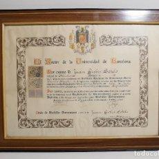 Documentos antiguos: TITULO ENMARCADO DE BACHILLER UNIVERSITARIO 1951 UNIVERSIDAD BARCELONA------REF-1AC. Lote 186453656