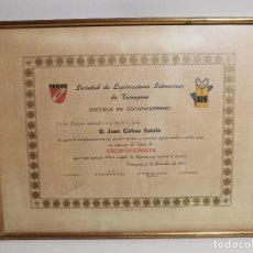 Documentos antiguos: SES.SOCIEDAD EXPLORACIONES SUBMARINAS TARRAGONA,BUCEO,SUBMARINISMO-TITULO ESCAFANDRISTA 1969-REF-1AC. Lote 186455080