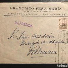 Documentos antiguos: SOBRE FRANCISCO PEÑA MARIN SAN SEBASTIAN 1950 SELLO ESPAÑA 5 CMS DESTINO PALENCIA LUIS CALDERON . Lote 187207796