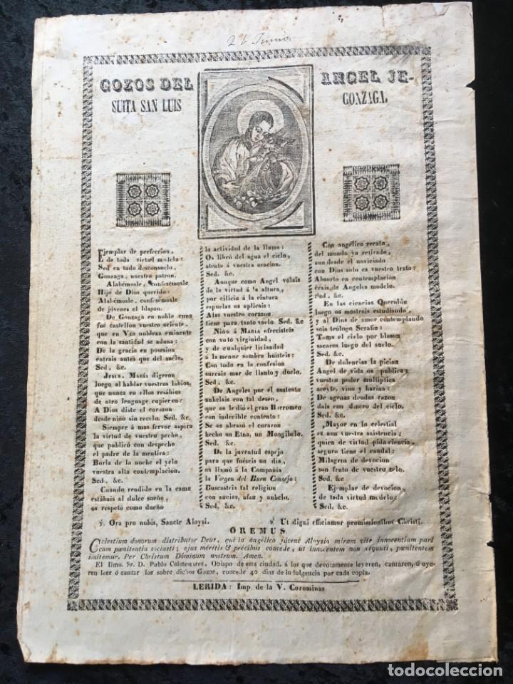 GOZOS DEL ANGEL JESUITA SAN LUIS GONZAGA - LERIDA - IMPRENTA DE LA V. COROMINAS (Coleccionismo - Documentos - Otros documentos)