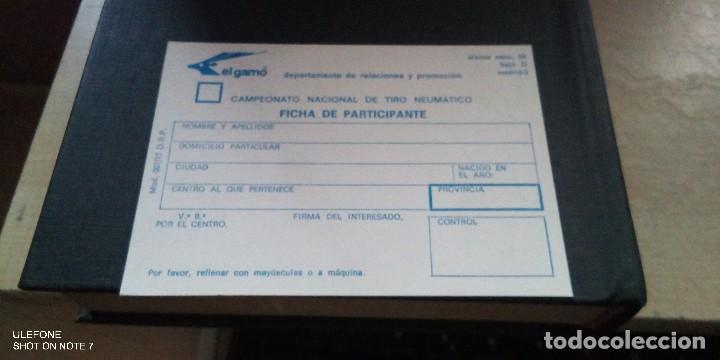 FICHA EL GAMO DEL CAMPEONATO NACIONAL DE TIRO NEUMATICO FICHA PARTICIPANTE (Coleccionismo - Documentos - Otros documentos)