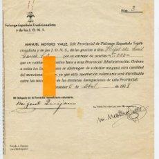 Documentos antiguos: SANTANDER, GUERRA CIVIL, RECIBO DE FALANGE POR DONATIVO 1938 Y AGRADECIMIENTO DEL GOBIERNADOR CIVIL. Lote 187421483