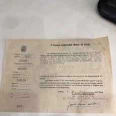 Documentos antiguos: EL GOBERNADOR MILITAR DE LÉRIDA. Lote 187433517