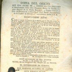 Documentos antiguos: NUMULITE 1816 CAPITAN GENERAL DE LOS EJÉRCITOS EJÉRCITO GERONA MURIÓ ENVENENADO ÁLVAREZ DE CASTRO. Lote 187459700