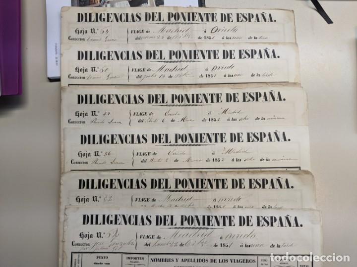 1851 1852 DILIGENCIAS DEL PONIENTE DE ESPAÑA - MADRID OVIEDO - 18 HOJAS REGISTRO DE VIAJES ASTURIAS (Coleccionismo - Documentos - Otros documentos)