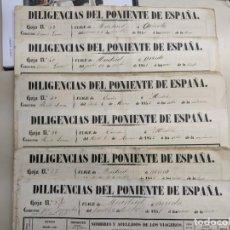 Documentos antiguos: 1851 1852 DILIGENCIAS DEL PONIENTE DE ESPAÑA - MADRID OVIEDO - 18 HOJAS REGISTRO DE VIAJES ASTURIAS. Lote 187610216