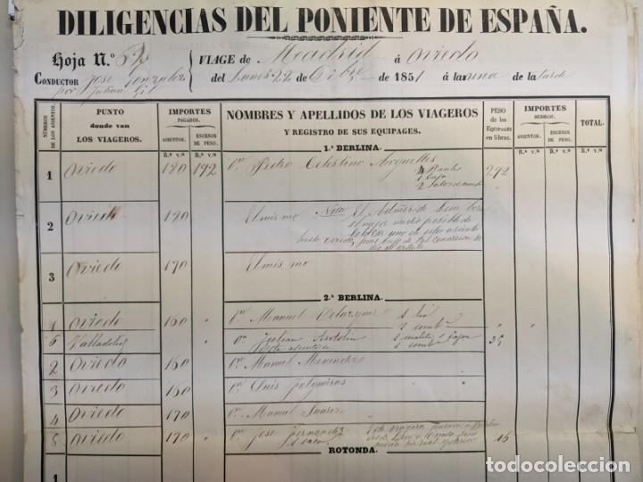 Documentos antiguos: 1851 1852 DILIGENCIAS DEL PONIENTE DE ESPAÑA - MADRID OVIEDO - 18 HOJAS REGISTRO DE VIAJES ASTURIAS - Foto 2 - 187610216
